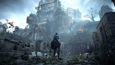 Demon's Souls führt uns durch finstere Verliese, giftige Sümpfe, tiefe Höhlen oder - wie in diesem Bild zu sehen - durch verwüstete Festungen.